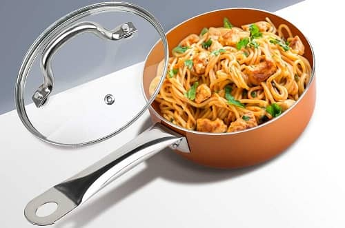 SHINEURI 2.5 qt Copper Saucepan