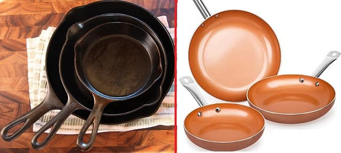 Cast Iron Pan and Copper Pan