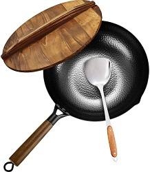 KYTD Carbon Steel Wok and Stir Fry Flat Pan